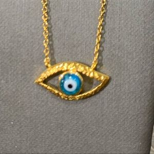 Jewelry - Gold plated Evil Eye Blue Necklace 2pc set 🧿